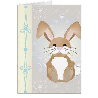 Conejito en azul tarjeta de felicitación
