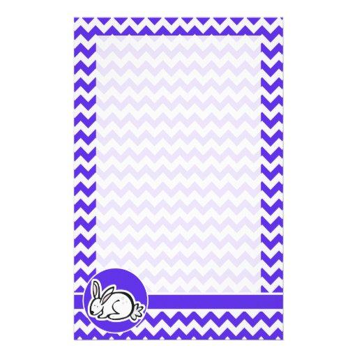 Conejito en Chevron violeta azul Papelería