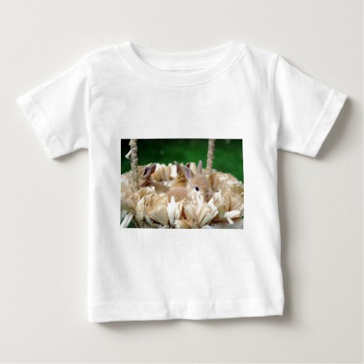 Conejito en una cesta t-shirts