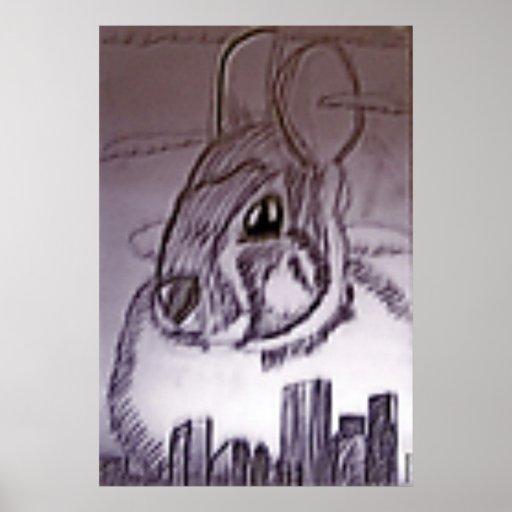 Conejito espeluznante sobre el dibujo de la ciudad póster