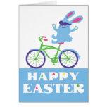 Conejito feliz del motorista de Pascua - tarjeta