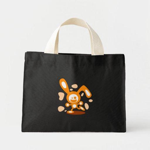 Conejito feliz (naranja) bolsa de tela pequeña