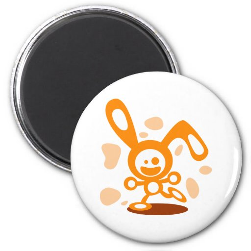 Conejito feliz (naranja) imán redondo 5 cm