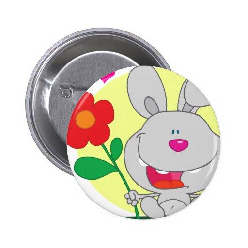 Conejito gris feliz pin