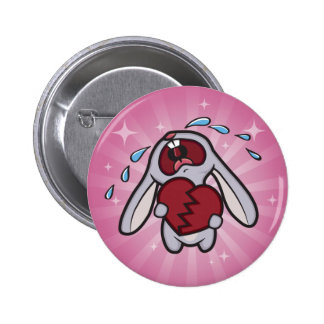 Conejito Hearted quebrado con el botón rosado del Pin Redondo De 2 Pulgadas