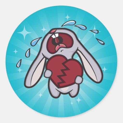 Conejito Hearted quebrado con Starburst azul Pegatina Redonda