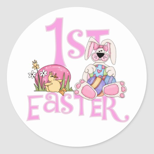 Conejito, huevos y 1ras camisetas y regalos de pegatinas redondas