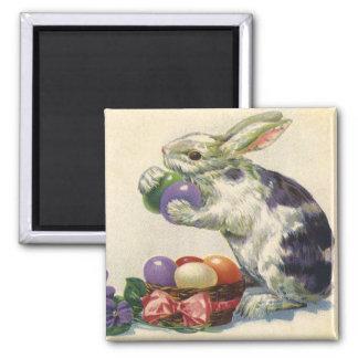 Conejito, huevos y flores de pascua del Victorian Imán Cuadrado