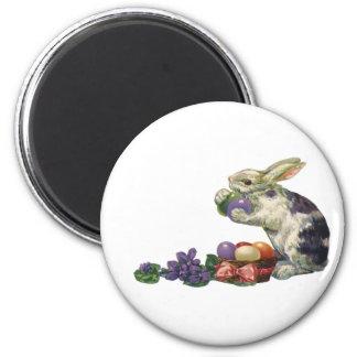 Conejito, huevos y flores de pascua del Victorian Imán Redondo 5 Cm