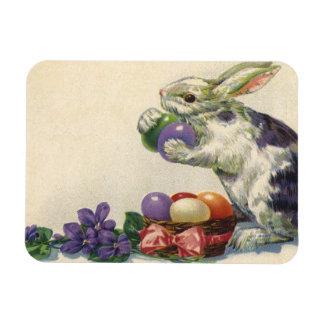 Conejito, huevos y flores de pascua del Victorian Iman Rectangular