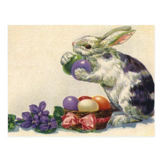 Conejito, huevos y flores de pascua del Victorian  Tarjetas Postales