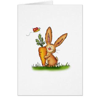 Conejito lindo con la zanahoria de Gerda Tarjeta De Felicitación