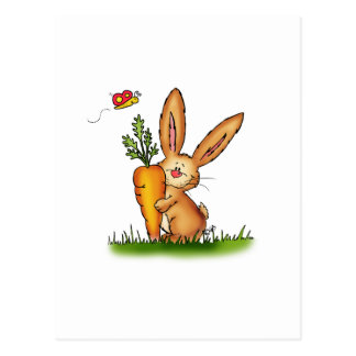 Conejito lindo con la zanahoria de Gerda Tarjeta Postal