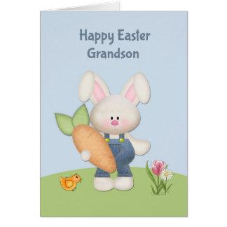 Conejito lindo con la zanahoria nieto Pascua Tarjetas
