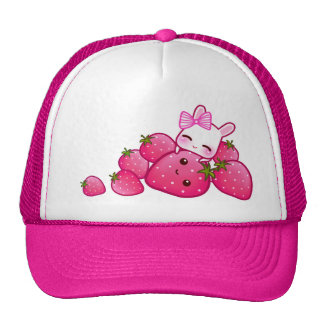 Conejito lindo con las fresas del kawaii gorros bordados