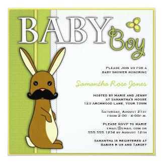 Conejito lindo de la fiesta de bienvenida al bebé invitación 13,3 cm x 13,3cm