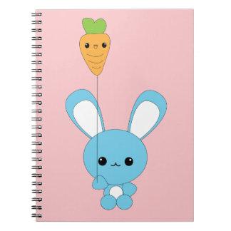 Conejito lindo del bebé azul del kawaii con el glo spiral notebooks