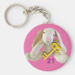 conejito lindo del conejo del 21ro del cumpleaños  llaveros