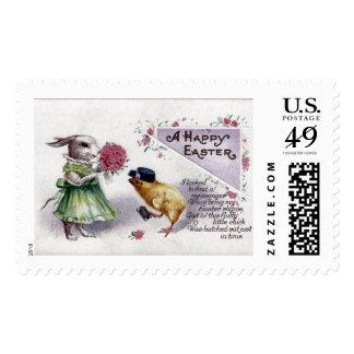 Conejito lindo del vintage, polluelo, cartero, sello