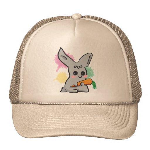 Conejito lindo gris del vegano con el gorra de la