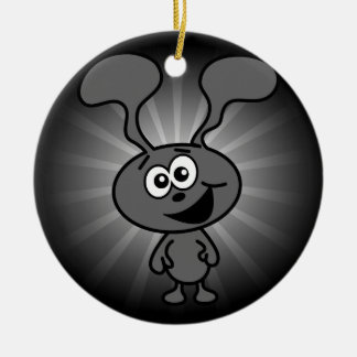 Conejito loco adorno navideño redondo de cerámica