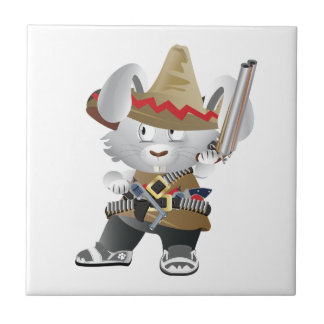 Conejito mexicano del bandido azulejo cuadrado pequeño