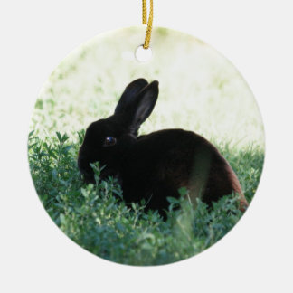 Conejito negro de Lil Adorno Navideño Redondo De Cerámica