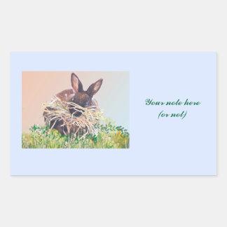 Conejito o jerarquía de pascua que hace el conejo rectangular pegatinas