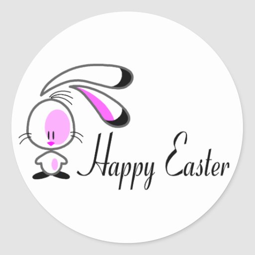 Conejito Pascua feliz Pegatina Redonda