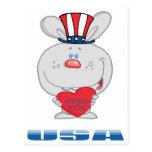 Conejito patriótico postal