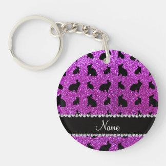 Conejito púrpura de neón conocido personalizado de llaveros