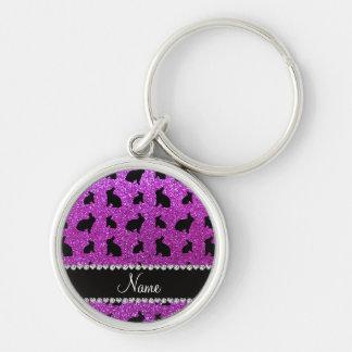 Conejito púrpura de neón conocido personalizado de llaveros personalizados