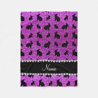 Conejito púrpura de neón conocido personalizado manta de forro polar