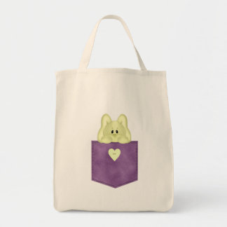 Conejito púrpura del amarillo del bolsillo de Jean Bolsa Tela Para La Compra