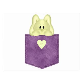 Conejito púrpura del amarillo del bolsillo de Jean Postales