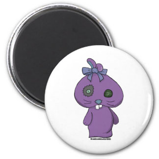 Conejito púrpura del Beanbag Imán Redondo 5 Cm