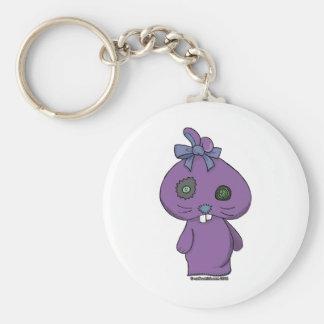 Conejito púrpura del Beanbag Llavero