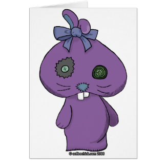 Conejito púrpura del Beanbag Tarjeton