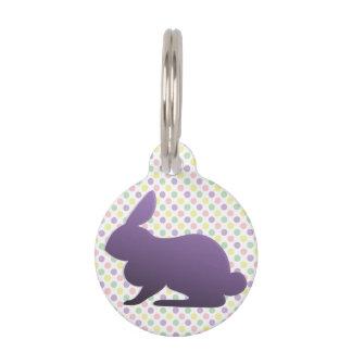 Conejito púrpura en puntos en colores pastel placas para mascotas