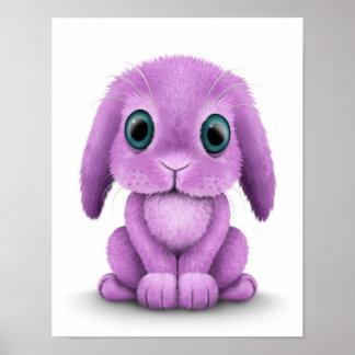 Conejito púrpura lindo del bebé en blanco póster
