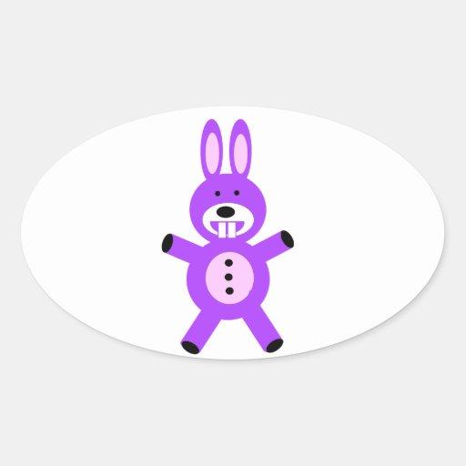 Conejito púrpura lindo pegatina ovalada