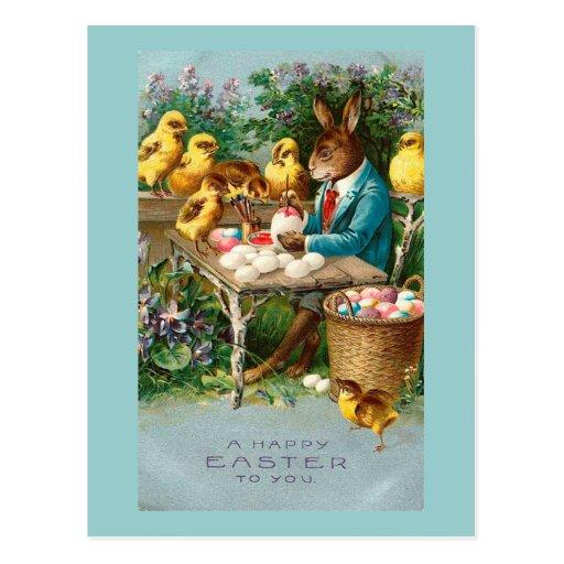 Conejito que pinta los huevos de Pascua Tarjetas Postales