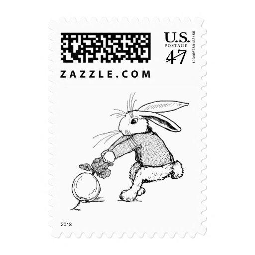 Conejito que tira en el nabo timbre postal