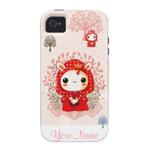 Conejito rojo de la capilla de Kawaii - iPhone 4/4S Carcasa