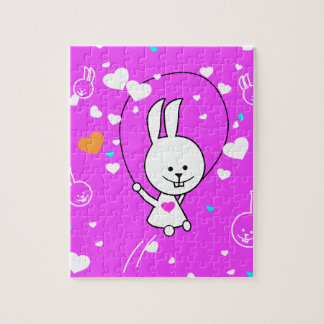 Conejito Roping del salto feliz rosado vibrante Puzzles