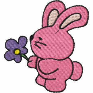 Conejito rosado con la flor púrpura