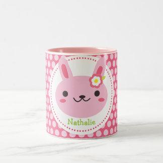 Conejito rosado de Kawaii Tazas