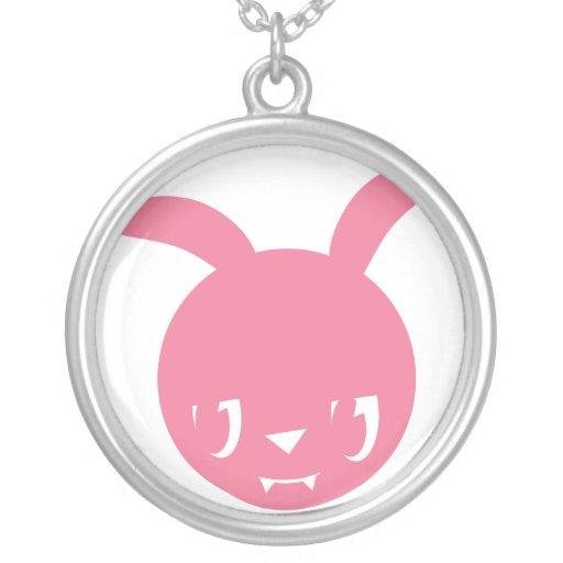 Conejito rosado del empeine pendientes personalizados