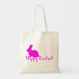 Conejito rosado feliz de Pascua Bolsas De Mano