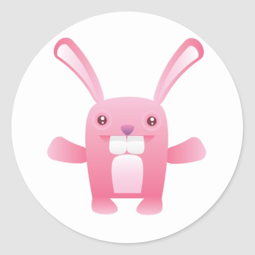 Conejito rosado feliz pegatina redonda